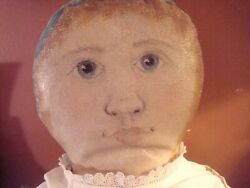 Very Large 28 Inch Antique American Painted Face Rag Doll Antique Clothes Shoe