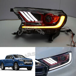 For Ford Ranger 15-19 Hid Xenon Led Projector Mustang Style Red Head Light Lamp