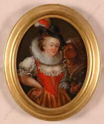 Lady And A Pickpocket With Stolen Money Pouch Rare German Oil/copper M