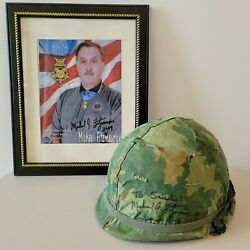 Medal Of Honor Michael Fitzmaurice Signed Helmet And Photos Vietnam War 1970-71