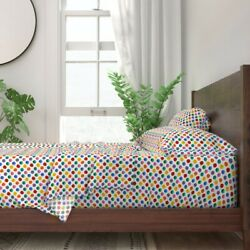 Colorful Polka Dot Watercolor 100 Cotton Sateen Sheet Set By Spoonflower