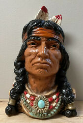 """Vintage 1966 Indian Chief Bust Universal Statuary Corp Chicago 320 11x7"""" 4.6lbs"""