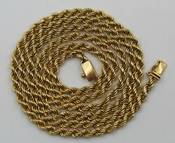 Vintage Heavy 18k Yellow Gold Rope Chain Necklace 27 Andfrac14 Inches