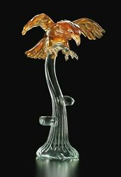 Sculpture In Murano Glass Figurine Hawk On Tree H 50 Cm Made Andigraven Italy