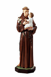 Saint Anthony Of Padova Resin Statue Cm. 100 With Glass Eyes