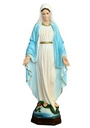 Our Lady Of Grace Resin Statue Cm. 60 With Painted Eyes - Made In Italy