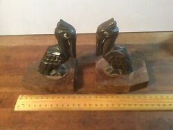 Vintage Metal Pelican Statue Bookends Most Likely Art Deco Bronze 14 Cm High