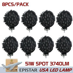 8x7inch 51w Round Led Work Lights Bar Driving Pods Bike Truck Off Road 4wd Black
