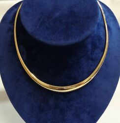 Vintage C.1980and039s Plain Collar Yellow Gold - Length 16