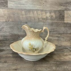 Large Ceramic Wash Basin And Pitcher With Daisy Floral Design