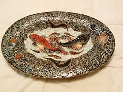 Majolica Barbotine French Antique Platter With Fish