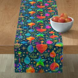 Table Runner Stars Snowflakes Berries Gold Holiday Christmas Ivy Cotton Sateen