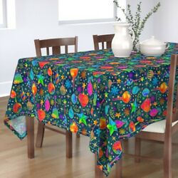 Tablecloth Stars Snowflakes Berries Gold Holiday Christmas Ivy Cotton Sateen