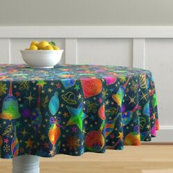 Round Tablecloth Stars Snowflakes Berries Gold Holiday Christmas Cotton Sateen