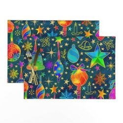 Cloth Placemats Stars Snowflakes Berries Gold Holiday Christmas Ivy Set Of 2