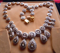 Vintage Inspired Natural Rose Cut Diamond Sterling Silver Polki Necklace Forgift