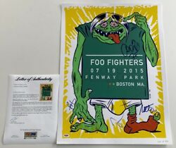 Foo Fighters X5 Dave Grohl Taylor Nate Pat And Chris Signed Fenway Park Poster Psa