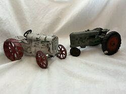Vintage Die Cast Metal Fordson Tractor Lot Grey Red Green Rubber Wheel Toy