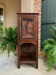 Antique French Carved Oak Cabinet Breton Bagpipe Brittany Petite Bookcase