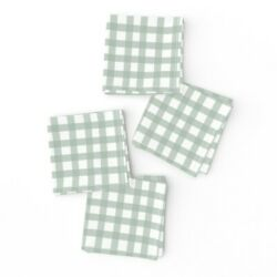 Cocktail Napkins Rustic Grid Watercolor Farmhouse Checkered Mint Green Set Of 4