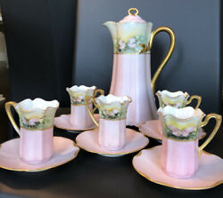 Antique Pink Haviland Limoges Chocolate Pot Cup And Saucer Set Handpainted Signed