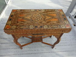 Antique Syrian Gaming Table 1920's Inlaid Handmade Unique Rare Middle Eastern