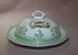 Vintage Art Pottery Chelsea Bird Graphic Covered Vegetable / Butter Dish 10 Side