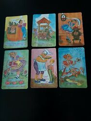 6 Vintage Old Maid Mother Goose Swap Cards  Little Miss Muffet Simple Simon...