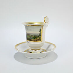 Early 19c Biedermeier Period Topographical Porcelain Cup And Saucer - Bonn View Pc