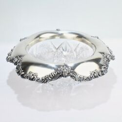 Large Antique And Co Sterling Silver Mounted Cut Glass Centerpiece Bowl Sl
