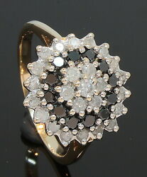 9 Carat Yellow Gold Black And White Diamond Cluster Ring 0.50ct Size P 70.21.075