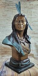 Life Size Bust Indian Chief Bronze Statue By Russelle Hot Cast Figurine