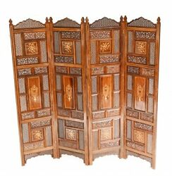 Antique Indian Folding Screen Inlay Room Divider 1920