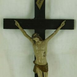 Large Antique French Wood Standing Crucifix Hand Carved And Painted Corpus Christi