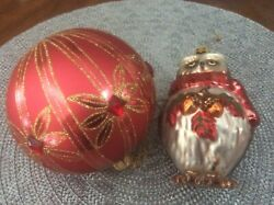 Vintage 2 Christmas Glass Ornaments Reds Owl