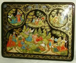 Russian Large Lacquer Box Palekh Fairy Tale Snow Maiden Miniature Hand Painted