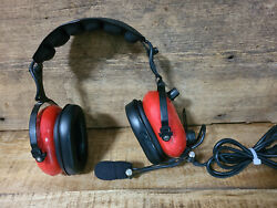 Pilot Headphones Softcomm Pro-am Stereo Headset With Mic Two Way Us Aviation Red