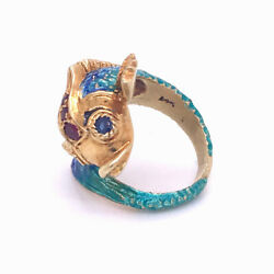 14 Karat Gold Figural Dolphin Cocktail Ring W Rubies, Sapphires, And Enamel - Vr