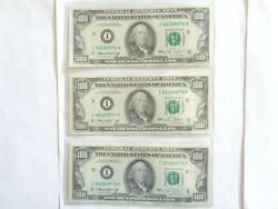 1974 I 3 Consecutive Us 100 Federal Reserve Note Banknote Green Seal I06189972a