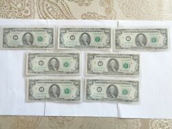 1974 I 7 Consecutive Us 100 Federal Reserve Note Banknote Green Seal I06189953a
