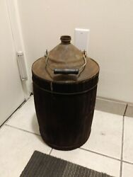 Large Early Tin And Wood Oil Can Kerosene Can