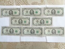 1974 I 8 Consecutive Us 100 Federal Reserve Note Banknote Green Seal I06190023a