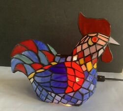Vintage Stained Glass Rooster Lamp