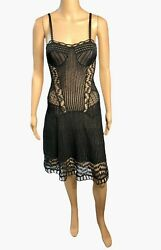 Christian Dior By John Galliano S/s 2009 Bustier Sheer Lace Knit Black Dress