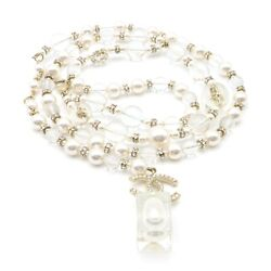 Chain Belt A19k Plastic Artificial Pearl White Clear System Gold Used