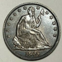 1846 Tall Date Almost Unc Au Liberty Seated Silver Us Half Dollar 50c