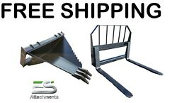 Es Heavy Duty Stump Bucket And 48 Pallet Fork Combo - Free Shipping - Skid Steer