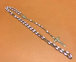 Vintage Sterling Silver And Purple Bead Rosary 21andrdquo Marked Hmh