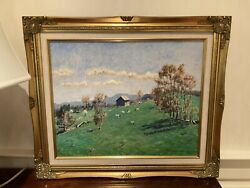 H.d. Becker Sunny Landscape Signed Oil Painting By Listed Pennsylvania Artist