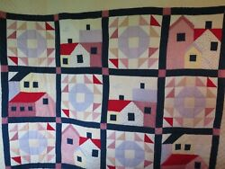 Vintage Quilt Hand Stitched Machine Farmhouse Design Houses Barns Red White Blue
